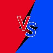 Versus logo red vs blue letters for sports design, fight icon. Vector illustration