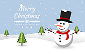 Merry christmas with Snowman at snow. Brochure, Card, Banner Vector illustration