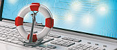 Lifebuoy and navy ship anchor on computer laptop keyboard, banner. 3d illustration