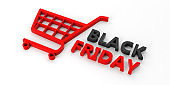 Black Friday text and a shopping cart isolated on white  background. 3d illustration