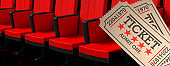 Cinema old type tickets beige and red movie theater seats background banner, 3d illustration.