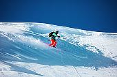 Skier downhill backcountry ski freeride
