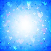 Valentines Day background with hearts and bokeh lights. Blue love background with hearts and sparkle lights.