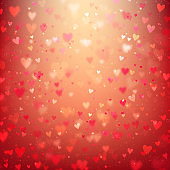 Valentines Day background with hearts and bokeh lights. Red love background with hearts and sparkle lights.