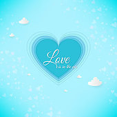 Paper art heart, love Invitation card. Valentine's day abstract background. Clouds, paper cut blue heart