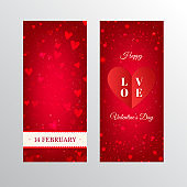 Red Valentines Day banners