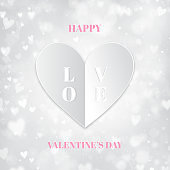 White Valentine's Day Background With Paper Folded Heart, bokeh lights
