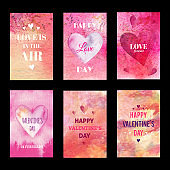 Watercolor Valentines Day cards