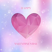 Valentines Day card with heart and shiny pink background
