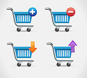 Shopping busket icon in realistic style isolated on white background. E-commerce symbol stock