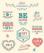 Valentines Day typographic elements