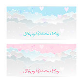 Valentine's day banners, paper art clouds, hearts. Paper art and craft style.