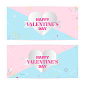 Valentine's day banners, paper art clouds, hearts. Paper art and craft style. Modern art, hipster