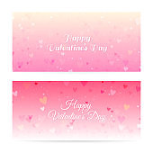 Valentine's Day blurred banners with hearts and bokeh