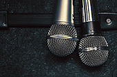 close up two microphone for duo sing a song concept