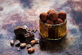 Chocolate sweets truffles, chocolate and cocoa beans