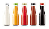 Glass bottles for sauces and other foods