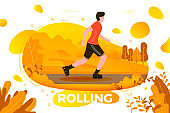 Vector illustration -  roller skating man in park