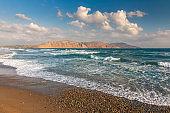 Wide beach in the summer in the northwest of Crete.