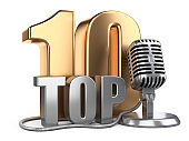 Big golden top 10, ten award symbol with wire microphone.