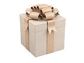 Gift box with ribbon and bow  wrapped in recycled paper.