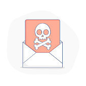 Malicious Software, Error or Virus in Email - Vector Illustration