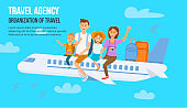 Traveling Family on Vacation. Vector Illustration.
