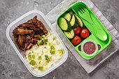 Lunch box with pulled lamb, boiled rice and vegetables.