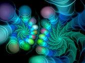 Abstract illustration of a fractal spiral pattern on black background