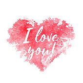 Red watercolor heart and text I love you on a white background