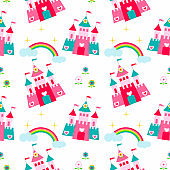 Princess castle seamless pattern with fairy tale, magic background