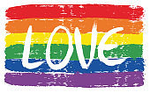 LGBTQ Love Letters Flag Vector Hand Painted with Rounded Brush