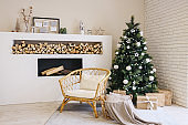 Living room in Scandinavian style with a Christmas decor