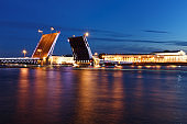 White nights. View of Neva river and raised Palace Bridge in St.Petersburg, Russia