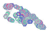 Color abstract hexagon pattern generative art background. Vector, illustration, digital & canvas.