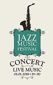 poster for a jazz music festival with a saxophone