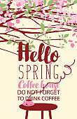 Spring landscape on coffee theme with cup