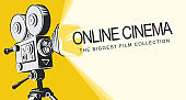 banner for online cinema with old movie projector
