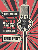 menu for retro music restaurant with microphone