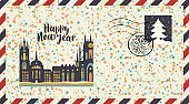 New year envelope with old european city