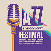 poster for a jazz music festival with a microphone