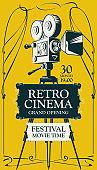 retro cinema festival poster with old movie camera