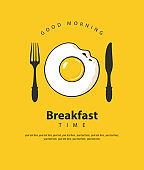 Breakfast banner with fried egg, fork and knife