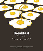 banner for breakfast time with fried eggs