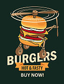 vector banner with burger in retro style