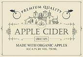 label for apple cider with apple in retro style
