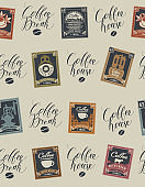 Seamless pattern on coffee theme with postmarks