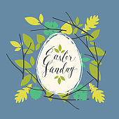 Greeting card with Easter egg in a wreath