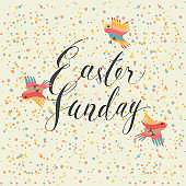 Easter Sunday greeting card with colored birds