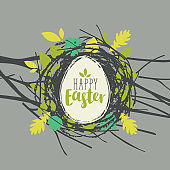 Greeting card with Easter egg in a bird's nest